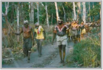 George Moreton Jnr (left) leading Bora at Lockhart River in the early 1970s (Photo: Athol Chase)